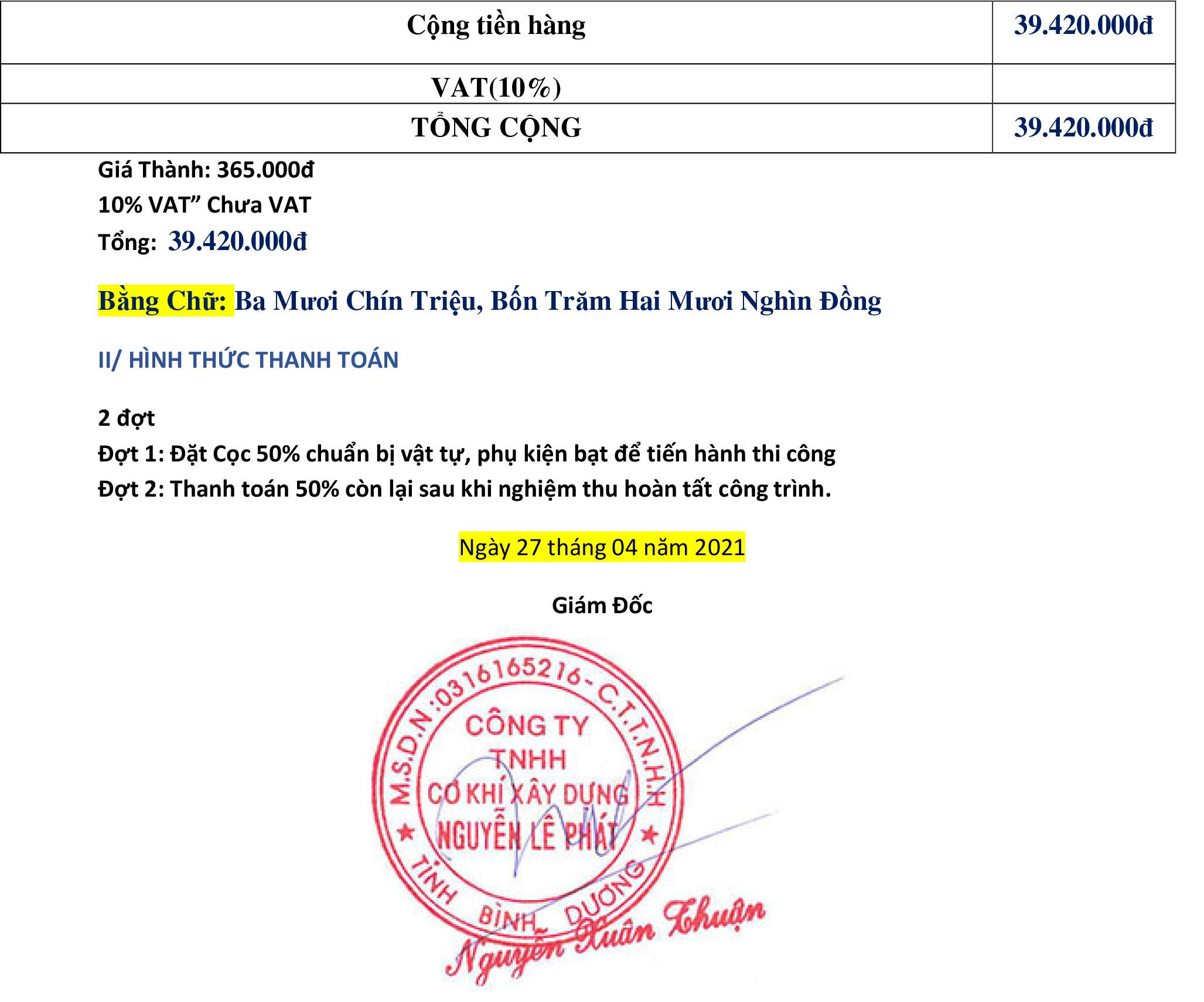Báo giá bạt xếp Nguyễn Lê Phát
