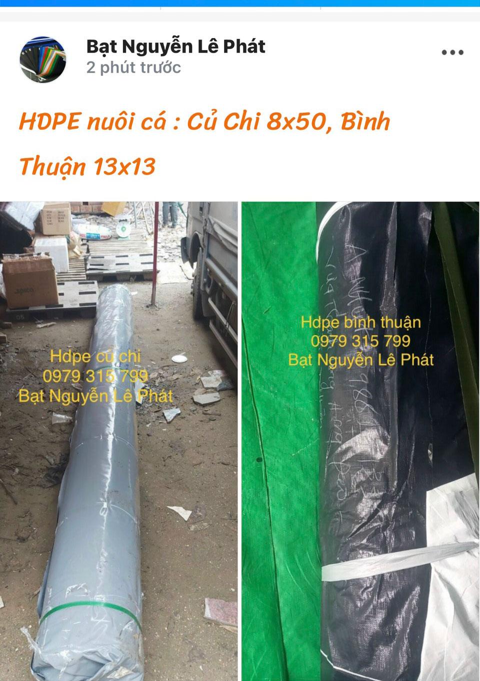 Bạt Nhựa HDPE Lót Hồ Chứa Nước Nuôi Cá Tôm Quy Nhơn Bình Định